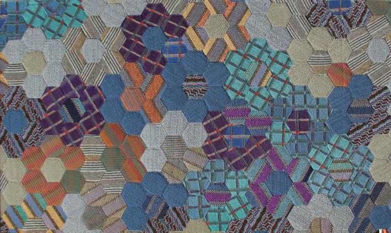 A woolen tapestry by Missoni circa 1980.  Artist: Ottavio Missoni, Italian (1921 - 2013) Title: #1 Year: circa 1980's Medium: Woolen Tapestry Size: 67 in. x 114 in. (170.18 cm x 289.56 cm)