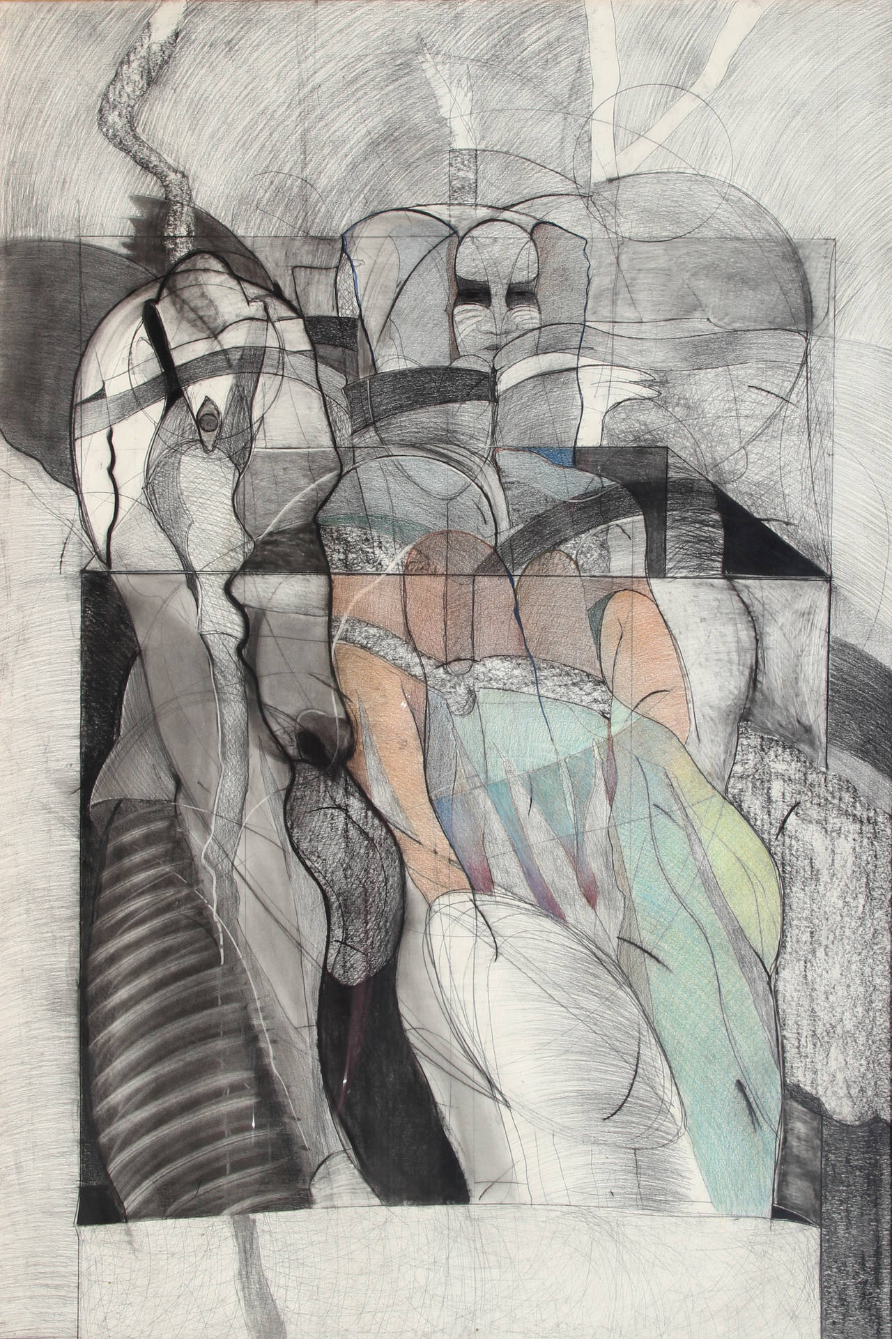 A mixed media drawing by Michael Platt from 1981. A representational image of a figure in a cool, subdued color pallet. Platt creates artwork that centers on figurative explorations of life's survivors, the marginalized, referencing history and