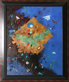 Large Colorful Abstract Painting by Ben Avram