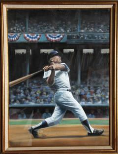 Mickey Mantle, Yankees, Original Pastel Drawing by Jack Lane