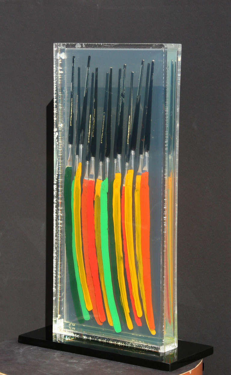 Paintbrushes (Orange Red and Green) IV - Black Abstract Sculpture by Fernandez Arman