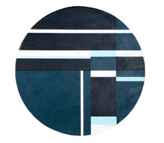 Blue Tondo, De Stijl Oil Painting by Ilya Bolotowsky