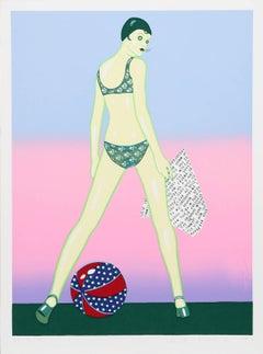 Beach Ball, Pop Art Silkscreen by Kiki Kogelnik