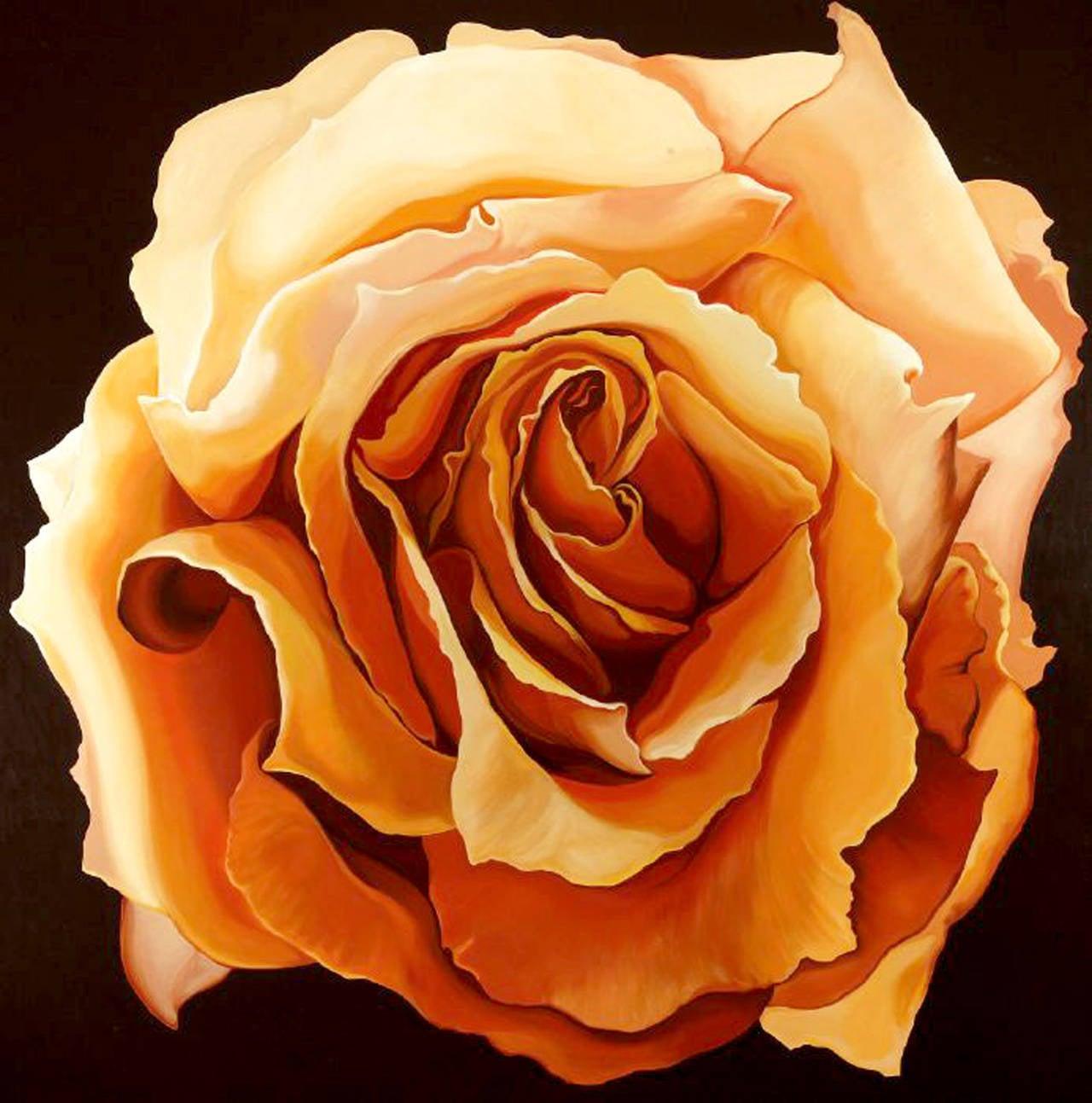 Yellow Rose, Monumental Painting by Lowell Nesbitt