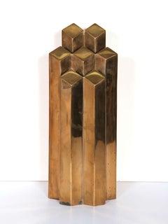 Geometric Skyscraper, Polished Bronze Sculpture