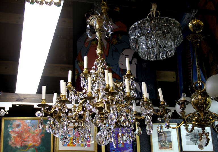 French Crystal Bronze Chandelier ca. 1910 - Art by Unknown