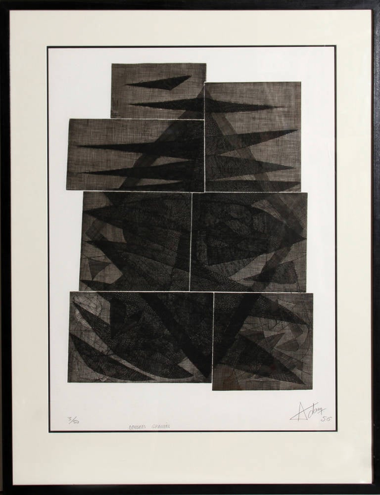 Henri-Georges Adam Abstract Print - Ombres Gravees