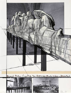 Christo, Wrapped Statues: The Glyptothek, Munich, Silkscreen and Collage