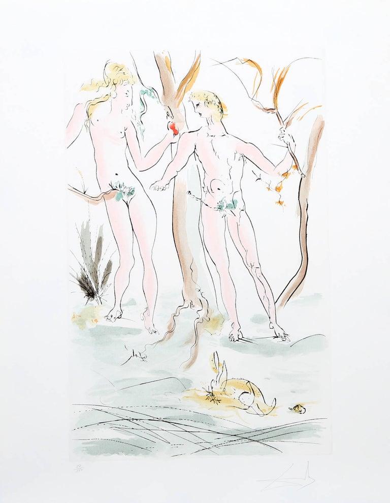 Salvador Dalí Nude Print - Adam et Eve from the Homage a Albrecht Durer Suite