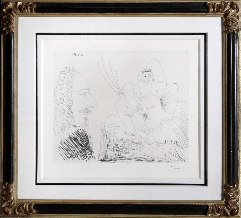 Artist: Pablo Picasso, Spanish (1881 - 1973) Title: Courtisane au Lit avec un Visiteur from the 347 Series (Bloch 1553) Year: 1968 Medium: Etching, signed and numbered in pencil Edition: 47/50 Image Size: 16.25 x 19.25 inches Size: 22.5 x 25.5