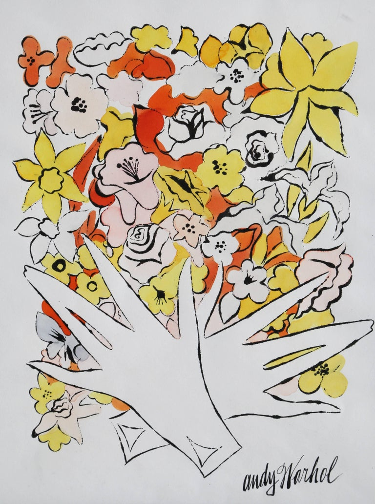 Flowers and Gloves, Watercolor Painting by Andy Warhol circa 1955 For Sale 1