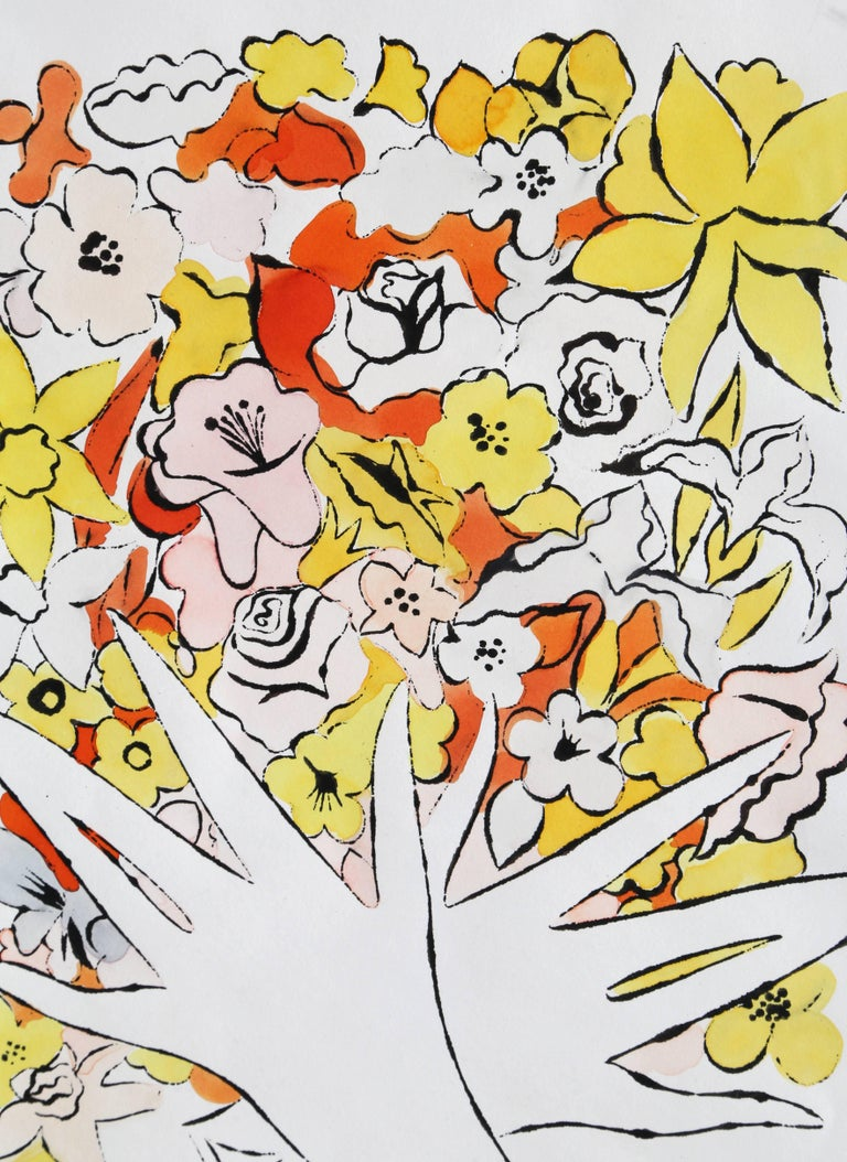 Flowers and Gloves, Watercolor Painting by Andy Warhol circa 1955 For Sale 3
