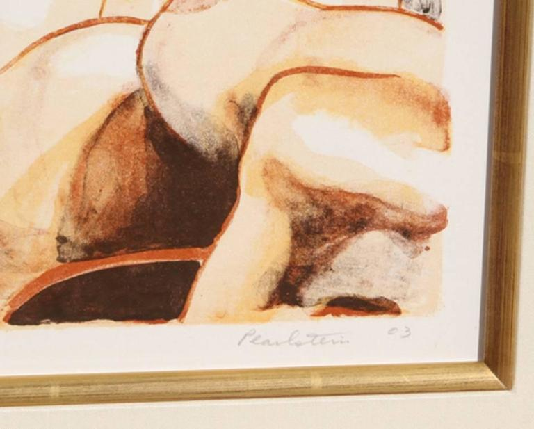 Two Nude Women with Lion - Print by Philip Pearlstein