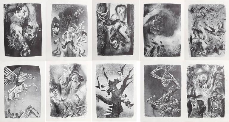 Artist: William Gropper, American (1897 - 1977) Title: Capriccios Portfolio Year: 1953 - 1956 Medium: Suite of 50 Lithographs in folio, each hand-signed and numbered in pencil Edition: 6/50 Image Size: Each 14 x 10 inches Size: Each 16.5 x 12.5 in.