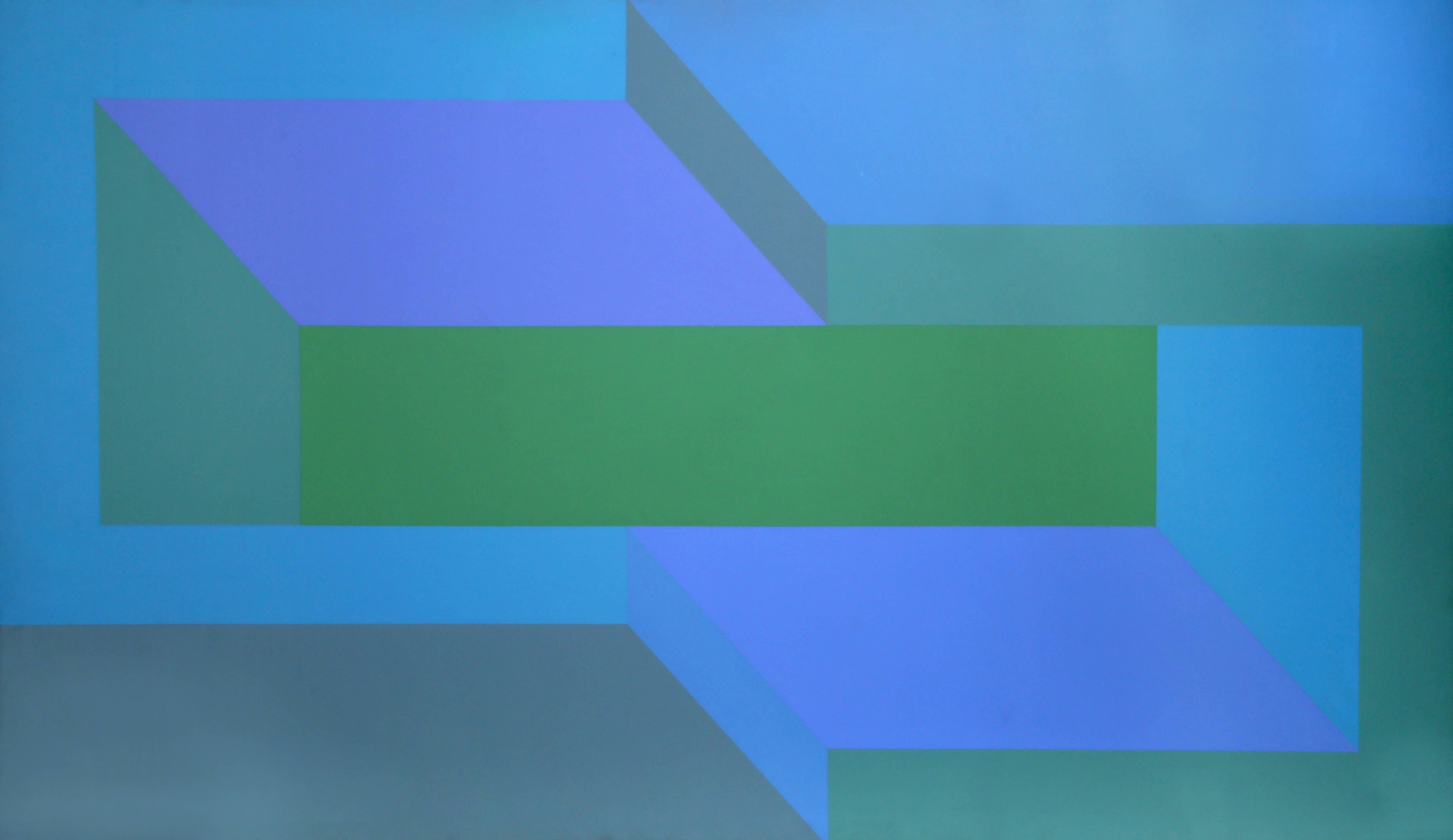 Sea Deep, Large OP Art Painting 1970