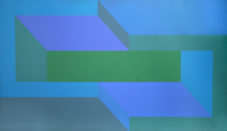 Arthur Boden Abstract Painting - Sea Deep, Large OP Art Painting 1970