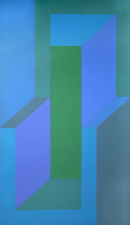 Sea Deep, Large OP Art Painting 1970 - Blue Abstract Painting by Arthur Boden