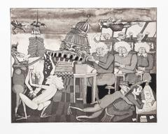 "Warrington Colescott, ""Your Friends at the IRS,"" Etching with Aquatint, 1975"