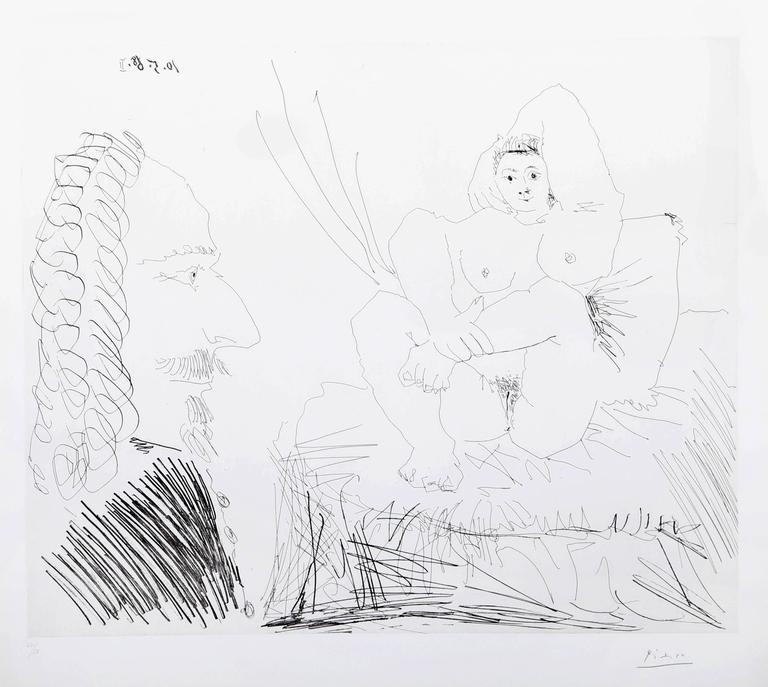 Courtisane au Lit avec un Visiteur from the 347 Series (Bloch 1553) For Sale 1
