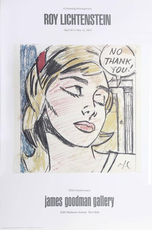 """(after) Roy Lichtenstein Figurative Print - Exhibition poster """"Roy Lichtenstein: A Drawing Retrospective"""" at James Goodman"""