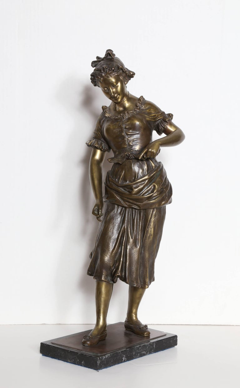 Artist: Hippolyte Moreau, French (1832 - 1927) Title: Maiden Medium: Bronze Sculpture with Marble Base Size:  22  x 9.5  x 6 in. (55.88  x 24.13  x 15.24 cm)