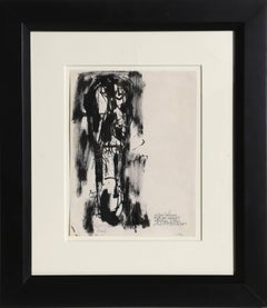 Man with Long Face, Ink and Wash on Paper by Abraham Rattner 1961