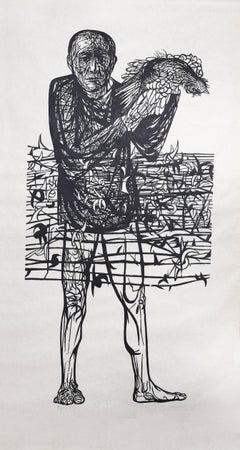 """Man of Peace,"" Woodcut Print on Rice Paper, 1972"