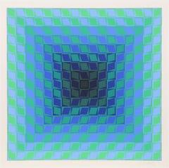 Blue OP Art Silkscreen