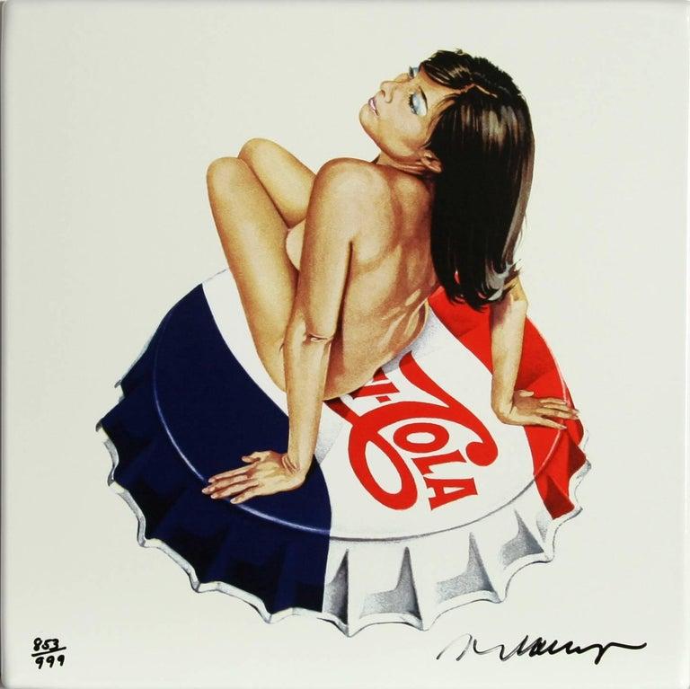 Mel Ramos Nude Print - Pepsi Cola, Enamel Print on Aluminum Panel