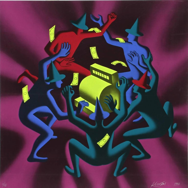 Mark Kostabi Figurative Print - Cash Dance