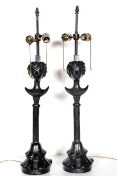 Tete de Femme, Pair of Bronze Table Lamps