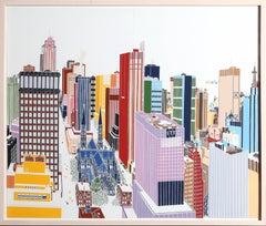 New York Skyline, Silkscreen Diptych Framed