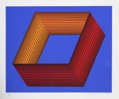 Blue OP Art Silkscreen on Panel by Anuszkiewicz