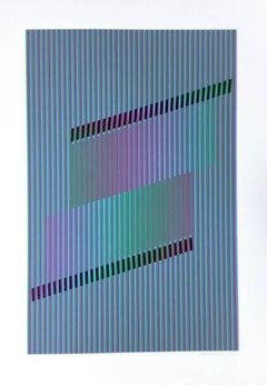 Chromatique Induction, OP Art Silkscreen by Cruz Diez