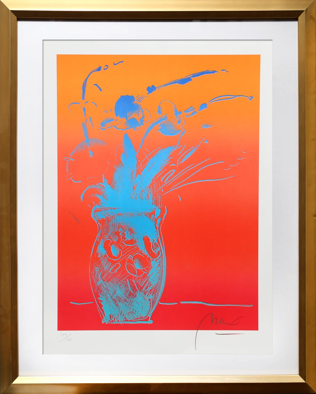 Blue Vase, Framed Lithograph by Peter Max