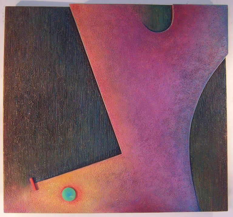 Artist: Warren Wolf, American (1924 - 2003) Title: Abiyer & Cashowk #6 Year: 1998 Medium: Oil and Marble Dust on Shaped Wood and Masonite  Size: 43 in. x 40 in. (109.22 cm x 101.6 cm)