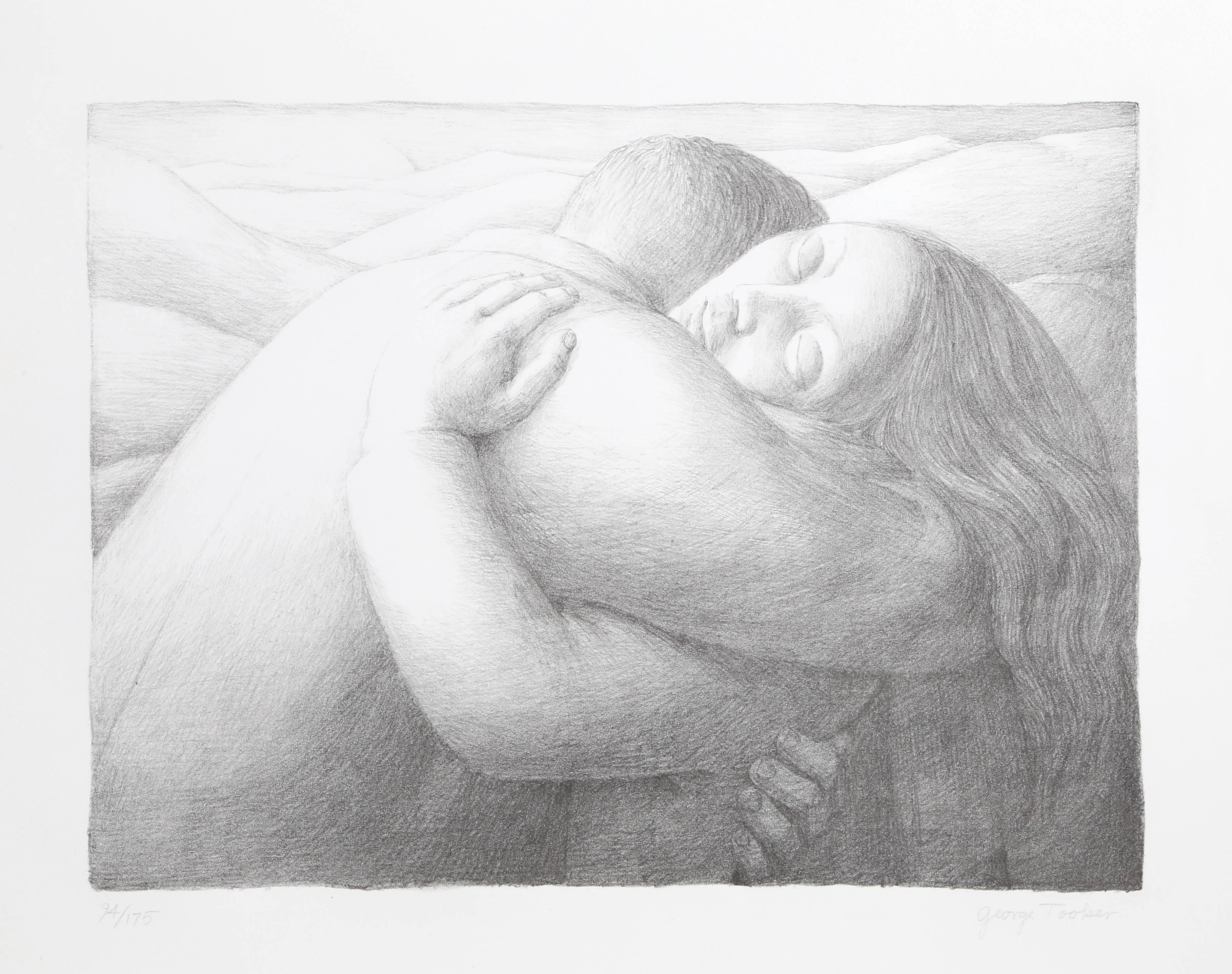 Lovers, Lithograph by George Tooker 1982
