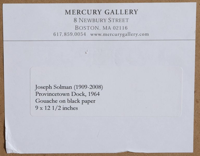 Provincetown Dock, Gouache Painting by Joseph Solman 1962 For Sale 3
