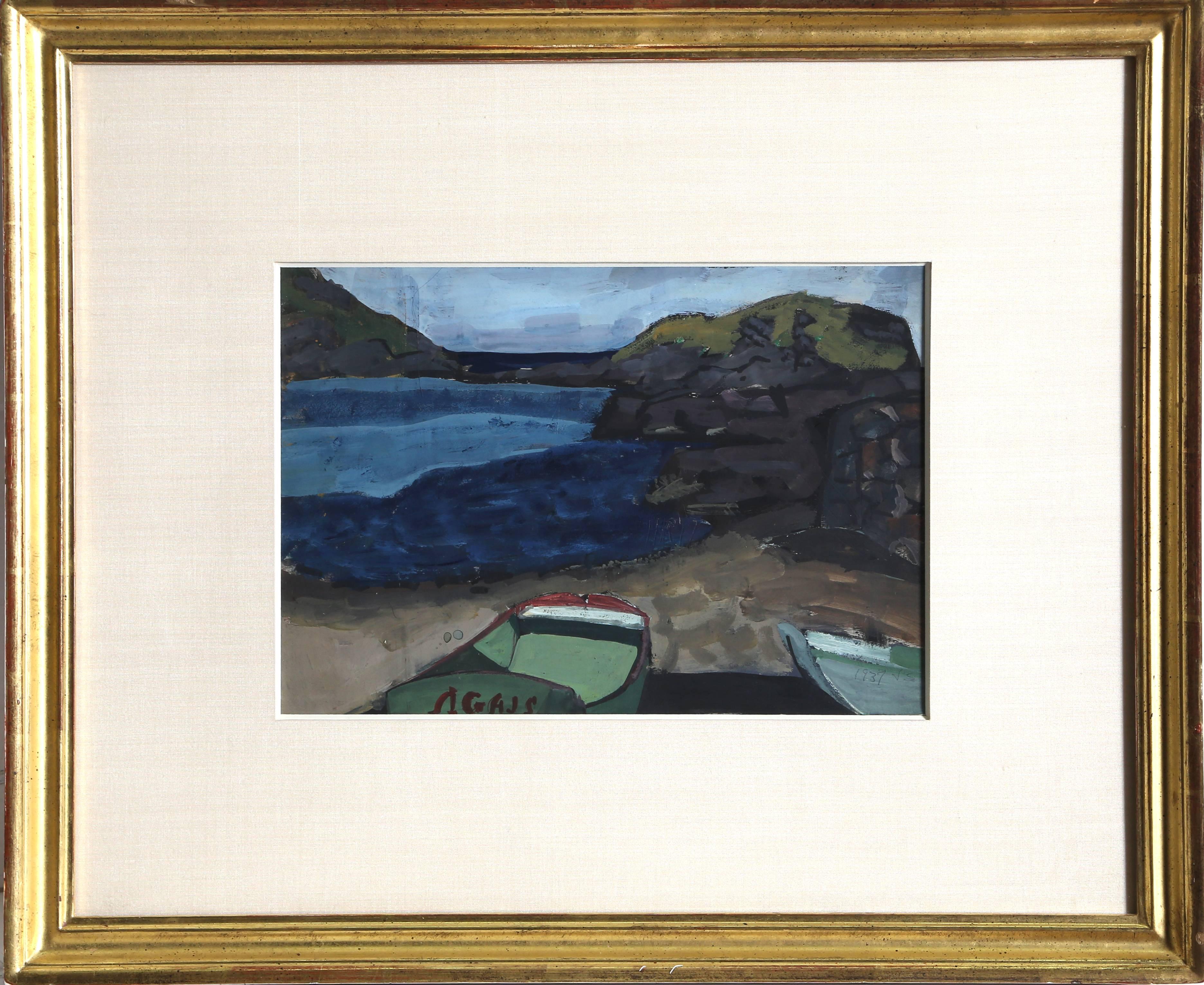 Monhegan Cove, Gouache Painting by Joseph Solman 1937