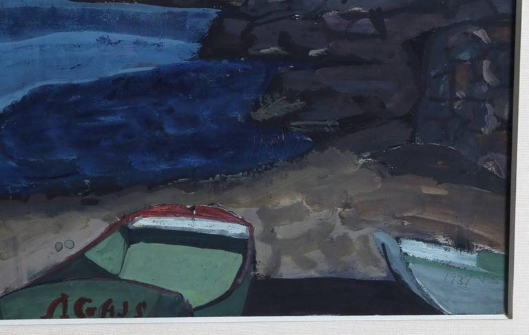 Monhegan Cove, Gouache Painting by Joseph Solman 1937 For Sale 1