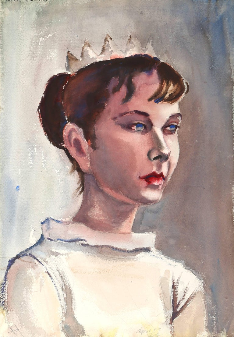 Portrait of a Girl Wearing a Crown, Double-sided Watercolor by Eve Nethercott