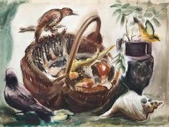 Bird on a Basket, Watercolor by Eve Nethercott