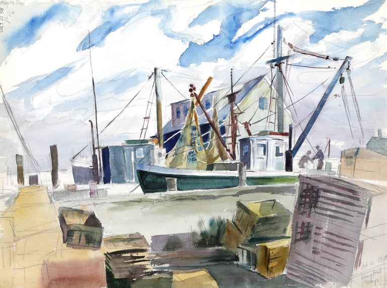 Artist: Eve Nethercott, American (1925 - 2015) Title: Hampton Bays (P6.24) Year: 1958 Medium: Watercolor on Paper Size: 22 x 30 in. (55.88 x 76.2 cm)