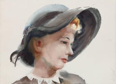 Portrait of Woman in Hat, Watercolor by Eve Nethercott