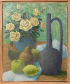 Flacon Vert, Roses, Juanes et Fruits by Laurent Marcel Salinas