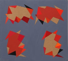 """Applied Space IV"", Red and Gray Collage byJasha Green"