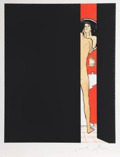 Man in Bathroom, Signed Lithograph by Rene Gruau
