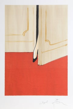 Petite Foot in the Doorway, Signed Lithograph by Rene Gruau