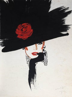 Woman in a Rose Hat, Signed Lithograph by Rene Gruau
