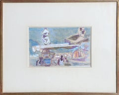 Tropez, Signed 1950's Gouache Painting by Alexandre Sacha Garbell
